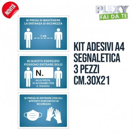 Kit 3 Adesivi A4 Segnaletica AntiCovid