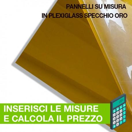 pannello in plexiglass specchio oro su misura
