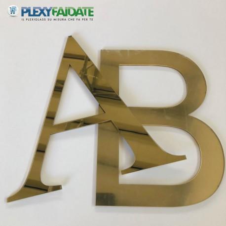 Lettere in plexiglass Specchio Oro spessore mm.3