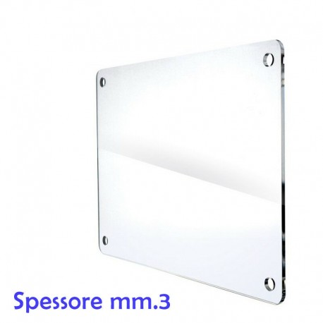 Targa neutra in plexiglass trasparente spessore mm.3