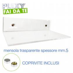 Mensole in plexiglass trasparente complete di coprivite spessore mm.5